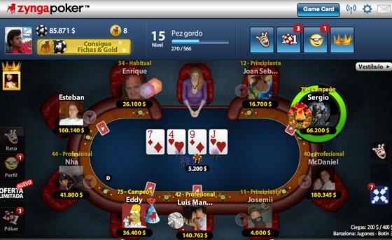 Sala juego Zynga Poker